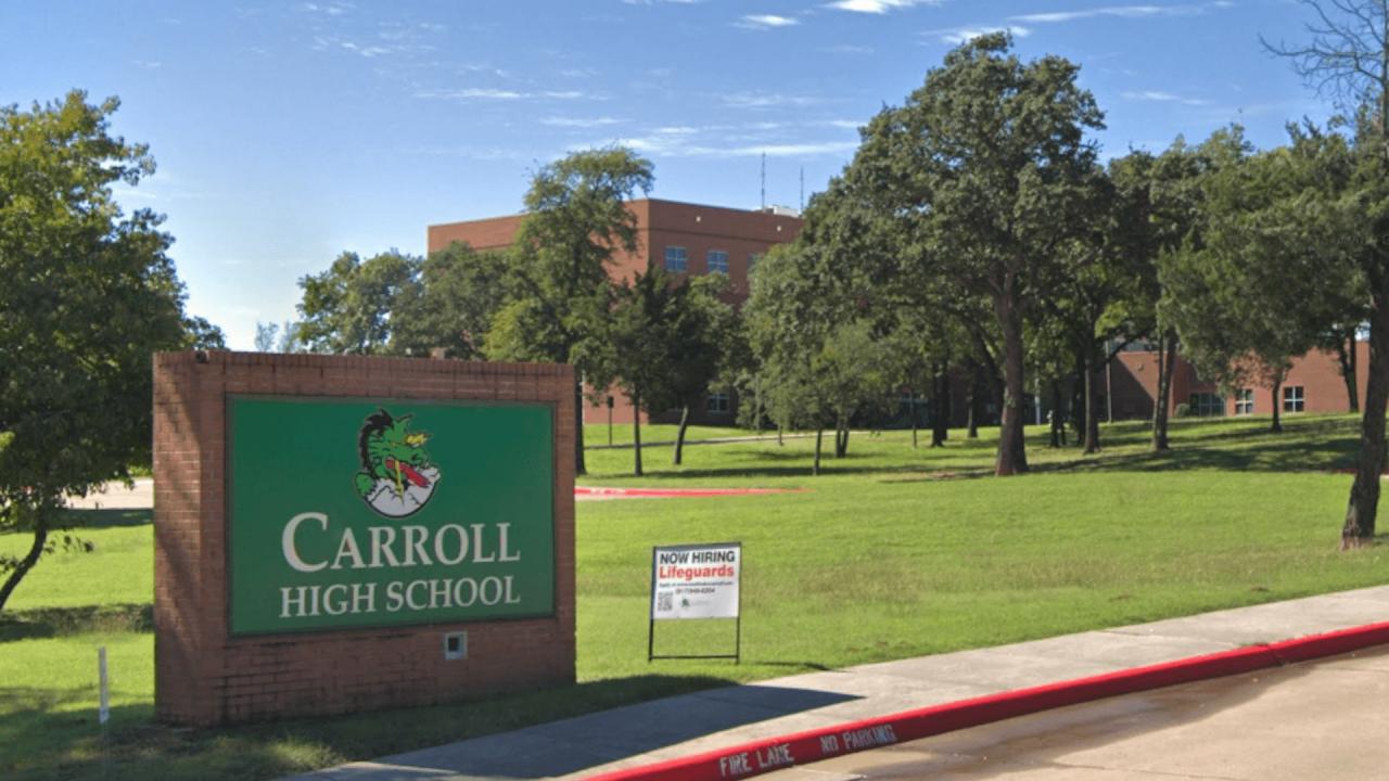 https://thetexan.news/wp-content/uploads/2020/10/Carroll-High-School-Sign-1280x720.png