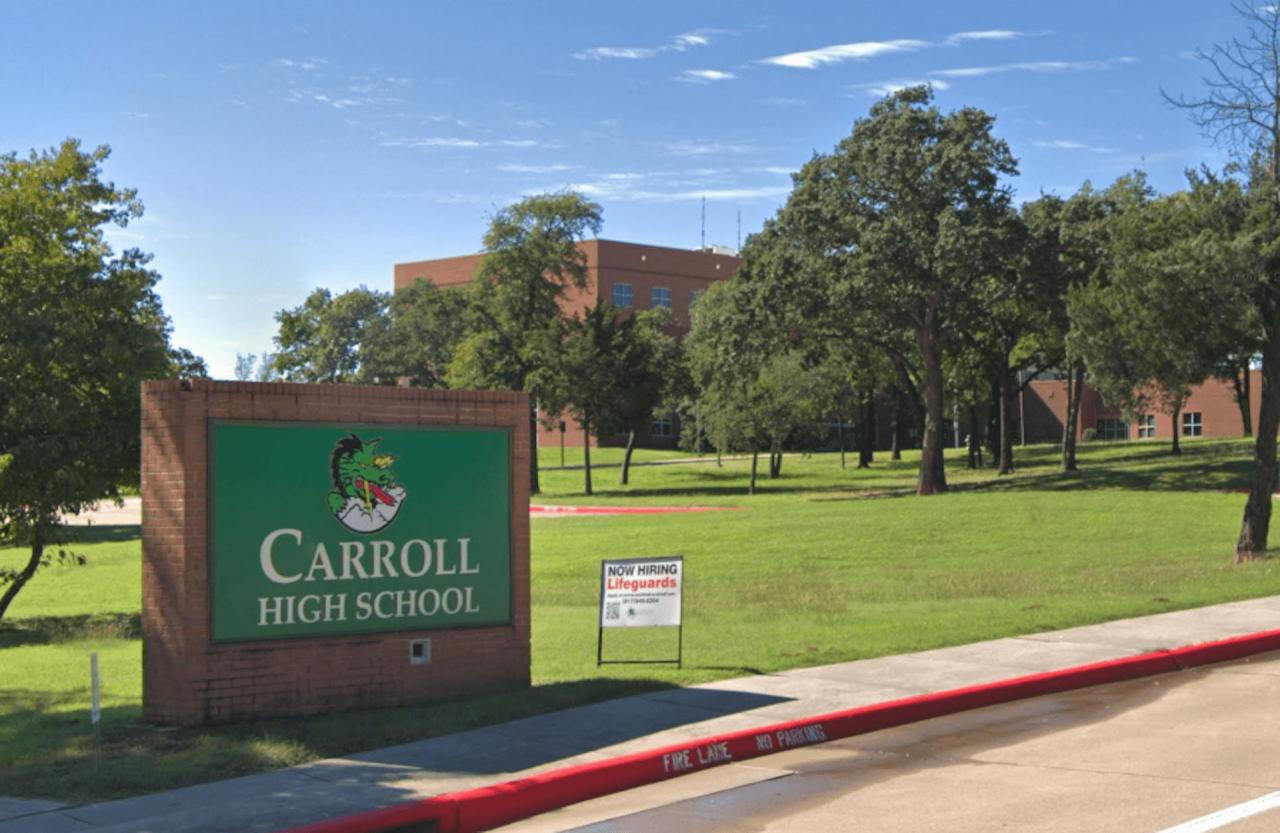 https://thetexan.news/wp-content/uploads/2020/10/Carroll-High-School-Sign-1280x833.png