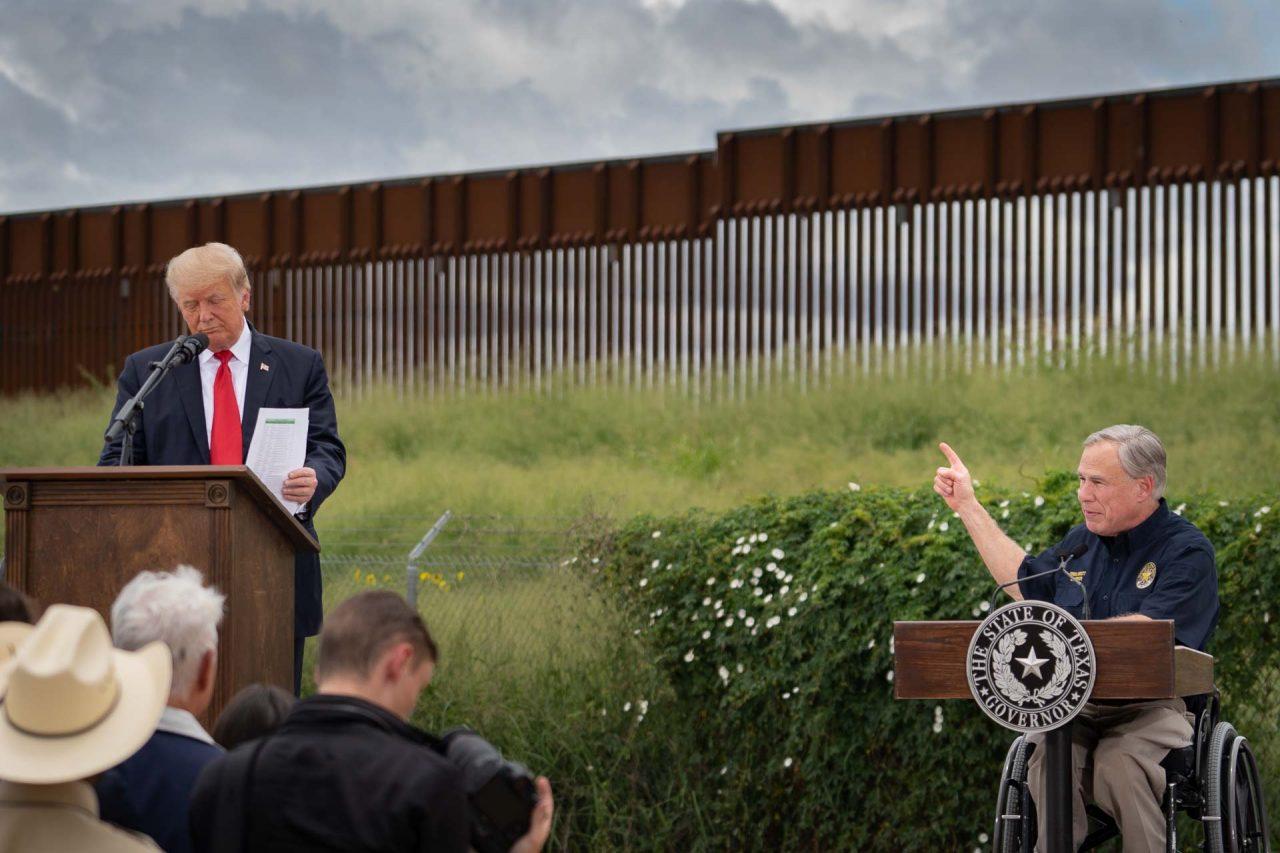 https://thetexan.news/wp-content/uploads/2021/06/Donald-Trump-and-Greg-Abbott-at-the-Texas-Border-Wall-DF-1280x853.jpg