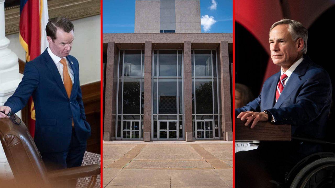 https://thetexan.news/wp-content/uploads/2021/08/Dade-Phelan-Greg-Abbott-Texas-Supreme-Court-1280x720.jpg