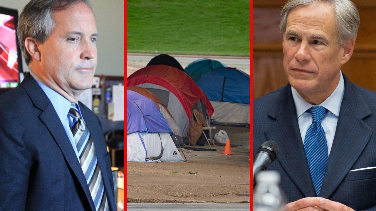 https://thetexan.news/wp-content/uploads/2021/09/Ken-Paxton-Greg-Abbott-Homeless-Camp-Austin-1280x720.jpg