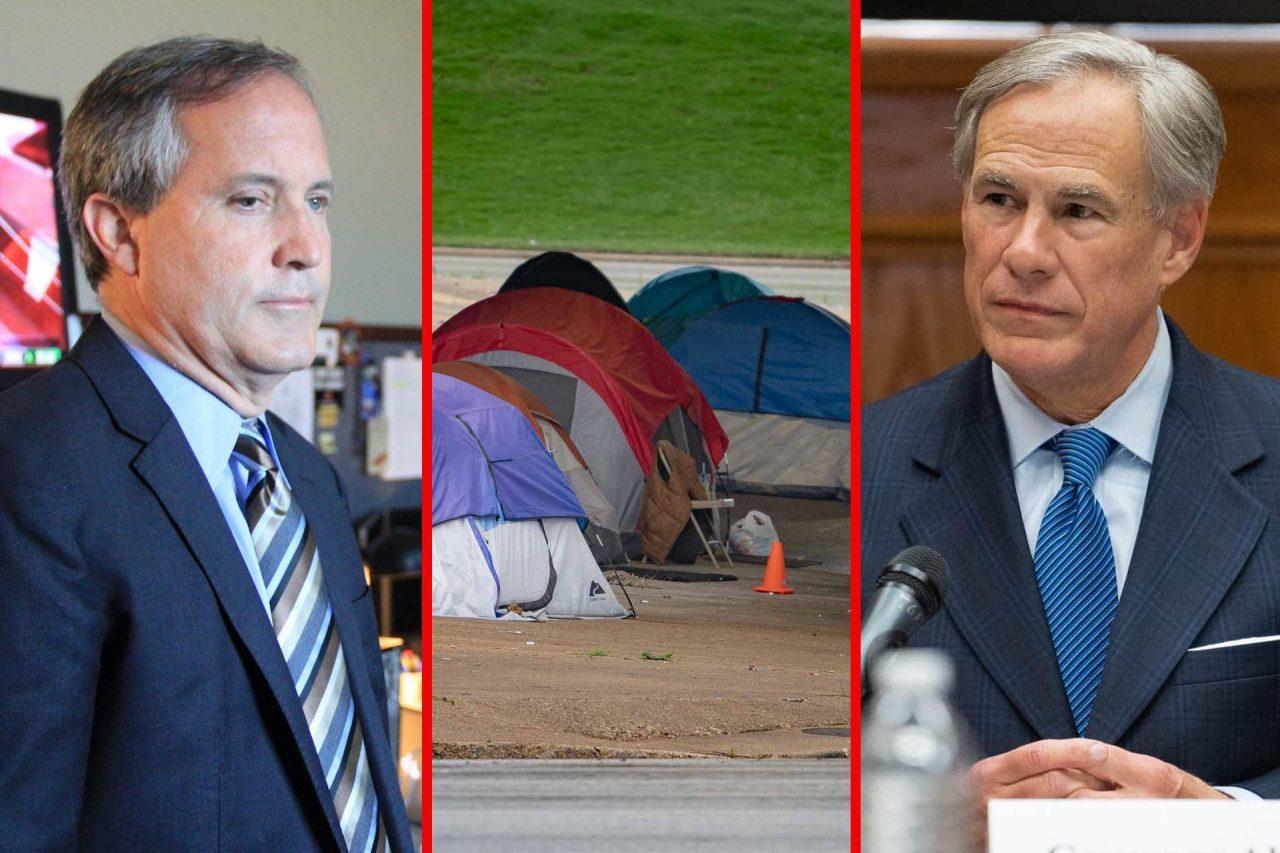 https://thetexan.news/wp-content/uploads/2021/09/Ken-Paxton-Greg-Abbott-Homeless-Camp-Austin-1280x853.jpg
