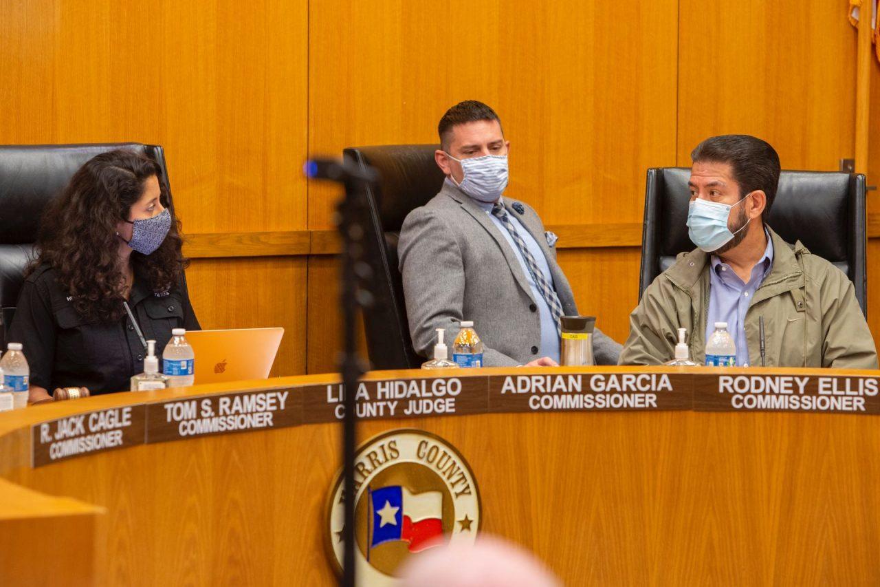 https://thetexan.news/wp-content/uploads/2021/10/Lina-Hidalgo-Adrian-Garcia-Harris-County-Judge-Commissioners-Court-Van-Williams-1280x853.jpg